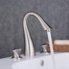 8 Brushed Nickel Bathroom Widespread Sink Faucet 3 Hole Waterfall Vanity