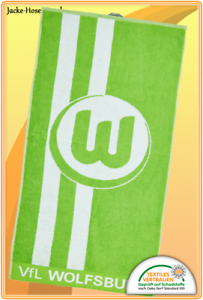 Duschtuch Strandtuch Badetuch Badestola Vfl Wolfsburg Logo Gr 70x140cm  NEU