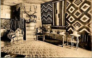 Vtg-Postcard-Sepia-RPPC-1920s-Cabin-Interior-w-Southwestern-Motif-amp-Taxidermy