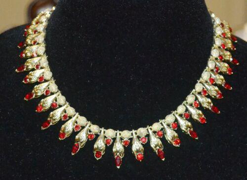 Vintage Coro Red Rhinestone Talon Necklace