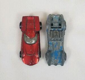 Vintage-Hot-Wheels-Redline-1968-Turbofire-Red-amp-1970-Strip-Teaser-Blue