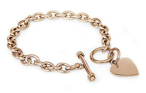 Stainless-Steel-Rose-Gold-Plated-Heart-Tag-Bracelet-7-5-034-FREE-ENGRAVING