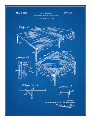 1949 Table Tennis Ping Pong Paddle Game Table Patent Print Art Poster 18X24