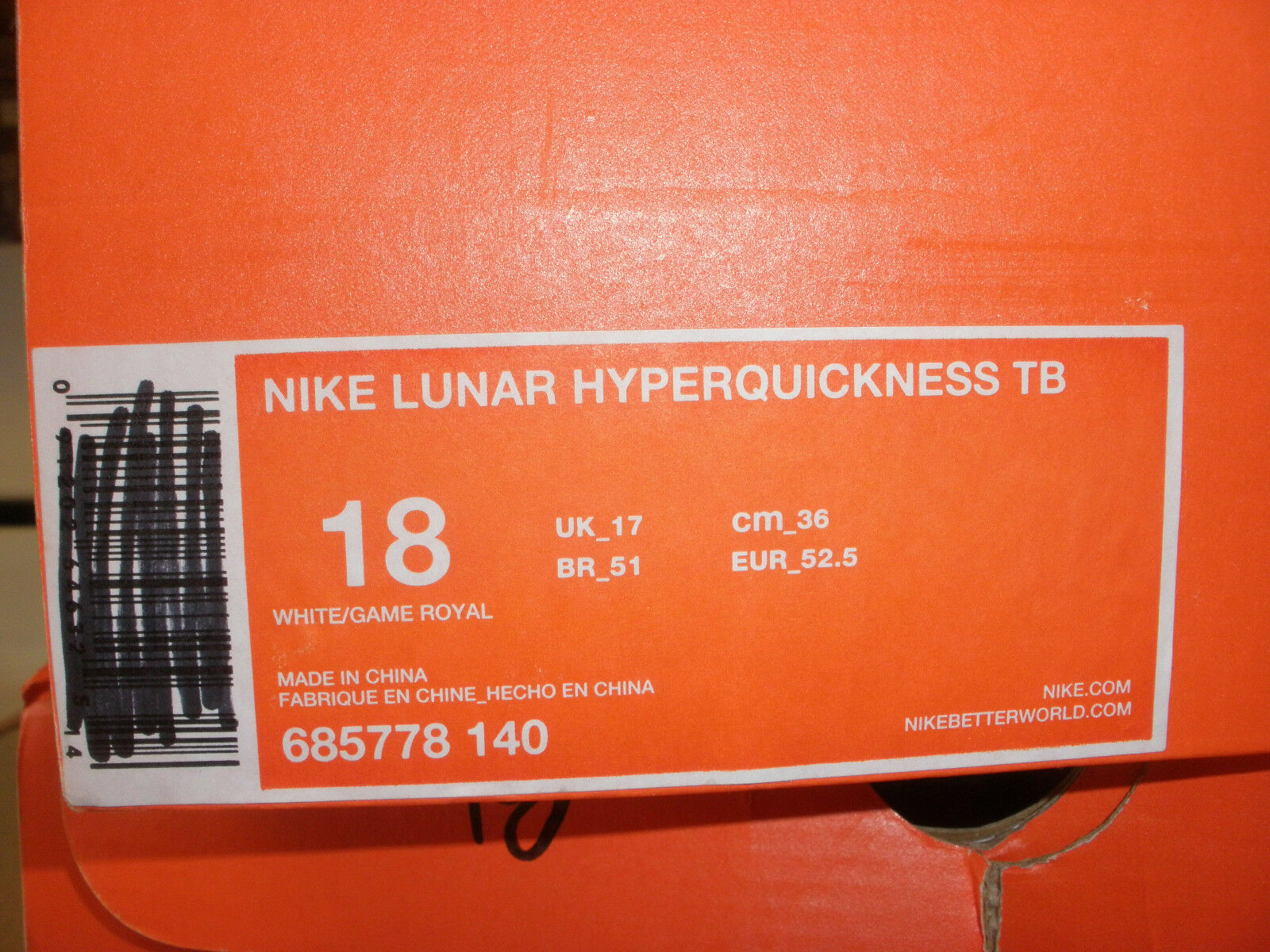 nike 685778-140 lunar hyperquickness tb blau - basketball - schuhe, blau tb - weiße größe 18. 62619f