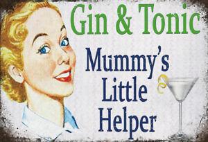 Gin-amp-Tonico-Mummys-Little-Helper-Letrero-de-Metal-Arqueado-Cartel-Lata