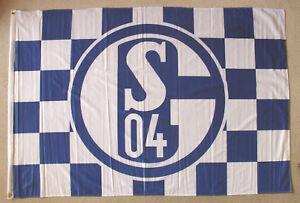 FC-Schalke-04-Karo-Osen-dicker-Stoff-100x150-cm-Fahne-Flagge-Hissfahne