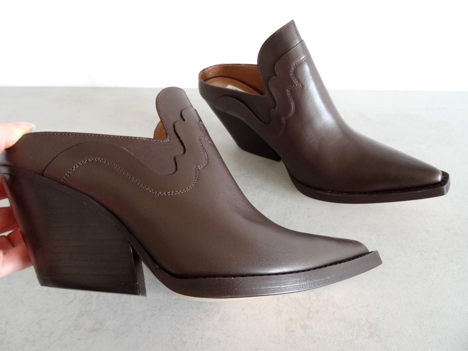 ZARA STUDIO BROWN LEATHER COWBOY-STYLE MULE MULE COWBOY-STYLE ANKLE BOOTS SIZE USA 7,5 0305df