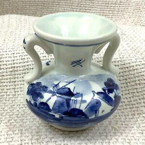 Vintage-Delft-Ceramiche-Miniatura-Vaso-Dipinto-a-Mano-Firmato-Dutch-Blu-e-Bianco