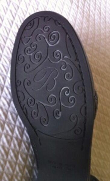 BRIGHTON Women's shoes MOTIF Slides Black Black Black Heels Sz 8N Brazil  185 b520c8