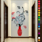 3D Flower Vase Wall Stickers Mirror Art Mural Home Room Office Decor Decal DIY