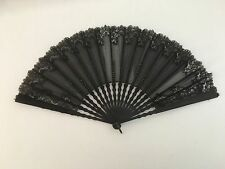 19th Century Wood  Ladies Mourning Fan Black Gauze Trimmed with Lace