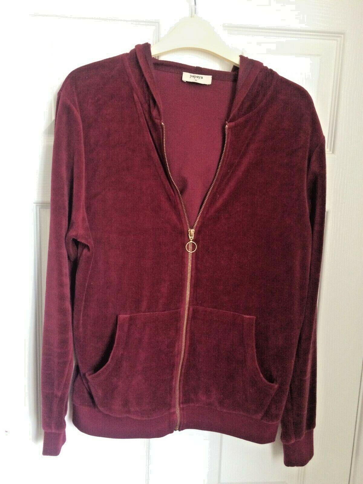 Papaya Zip-Fastening Burgundy Red Hoodie Sweatshirt Medium