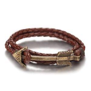 Vintage-Leather-Bracelet-Arrow-Jewelry-Mens-Rope-Bracelets-Christmas-Present