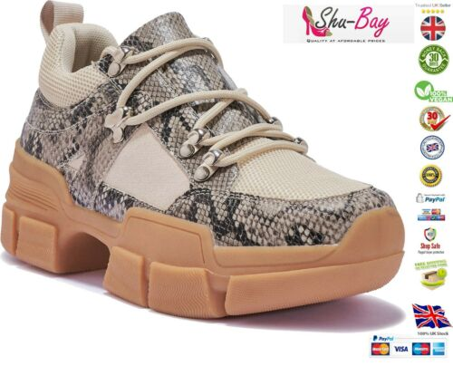 Womens Ladies Max Chunky Fashion Lace Up Low Force Walking Trainers Shoes Size 1