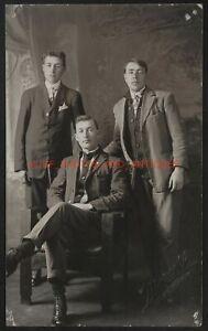 TRIO OF HANDSOME MEN STUDIO PORTRAIT C. 1910S RPPC REAL PHOTO POSTCARD GAY INT