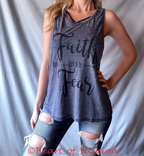 """/""""Faith Over Fear/"""" Graphic Distressed Ripped Laser Cut Relaxed Muscle Tank Top"""