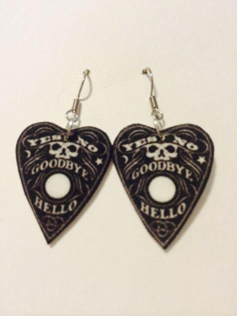 Ouija Planchette HANDMADE Plastic Charm Earrings Spirit Board Medium Halloween