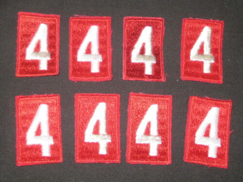 Unit Numeral 4 Red /& White Solid Embroidered Style Lot of 8    c20