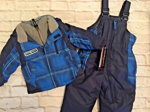 2-Pc-ZeroXposur-Baby-Boys-Size-12-Months-Coat-Snowsuit-Blue-Plaid-Jacket-Bibs