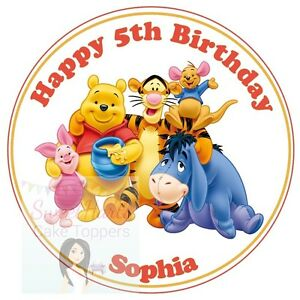 Winnie The Pooh Cake Topper Personalised Round Edible Decoration Ebay