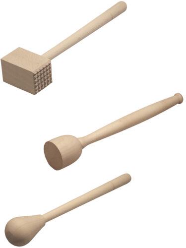 Set 3 piezas fleischklopfer Machacador y rührkeule de madera de haya