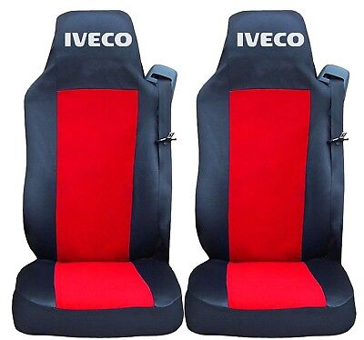 2x Seat Covers for IVECO Stralis Tailored Truck HGV Lorry Black//Grey LUX RHD