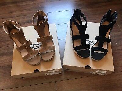 062f010fd42 UGG Australia Womens Shoe Whitney Wedge Sandals Chestnut, Black | eBay