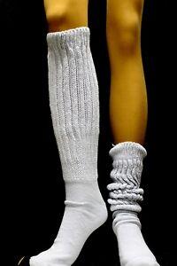 Lt Blue Slouch Knee thigh high Socks long warm Hooters Uniform school scrunchie