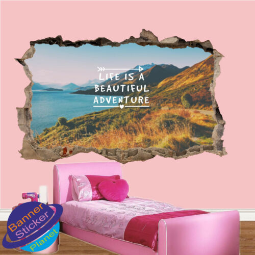 LIFE IS BEAUTIFUL ADVENTURE QUOTE WALL STICKERS 3D ART POSTER MURAL DECAL XV9