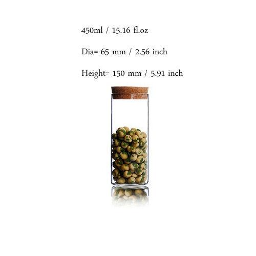 Handmade Clear Glass Herbal Green Tea Leaf Storage Sealed Canister Jar with Cork