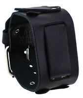 Nemesis Xb-k Wide Black Cross Pattern Designed Leather Cuff Watch Band