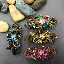 US seller antique tone 4pc flower hair clip barrette good quality mix colors 3-