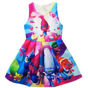 US-STOCK-Girl-Christmas-Princess-Poppy-Trolls-Party-Holiday-Birthday-Dress-O51
