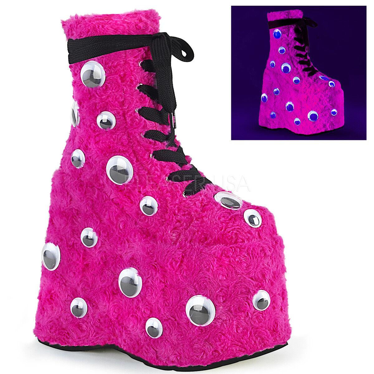 Demonia 7  Platform Hot Rosa Fur Fur Fur Googly Eyes UV Glow Ankle Stiefel Club Rave 6-12 e2a436