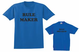 RULE MAKER RULE BREAKER Men Boys Gildan T Shirts present Fathers day Xmas gift