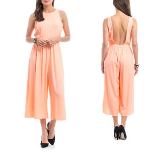 2a2b7ad0c783 Image is loading Woman-Wide-Leg-Jumpsuit-cropped-pants-Backless-Palazzo-