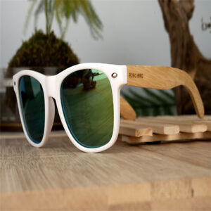 2fabdaec9dd Image is loading BOBO-BIRD-Polarized-Wood-Sunglasses-White-Plastic-Frame-