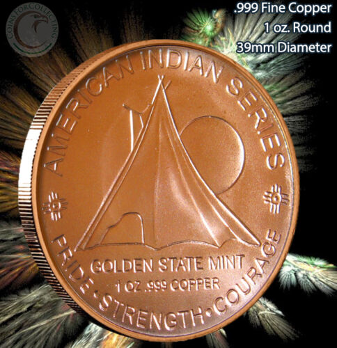 "/""Hail to the Great Spirit/"" American Indian Series Copper 1 oz .999 Copper Round"