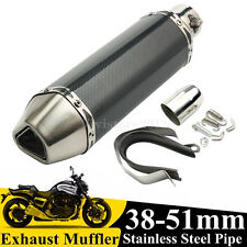 38-51mm Universal Motorcycle Exhaust Muffler Pipe Removable Silencer Street Bike