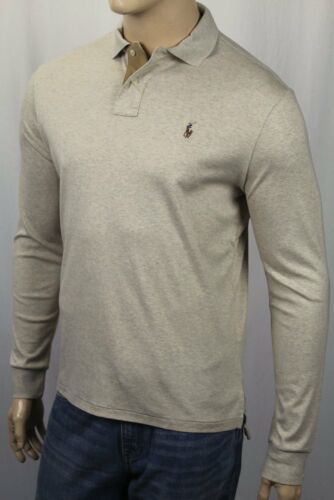 Ralph Lauren Beige Pima Soft Touch Long Sleeve Polo Shirt Classic Fit Suede NWT