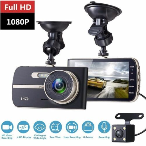HD 1080P Dual Lens Vehicle Car Dash Cam DVR Recorder 4″ LCD /& Rear Video Camera