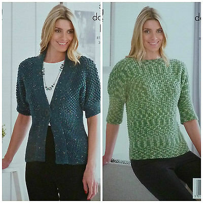 KNITTING PATTERN Ladies Short Sleeve Deep Rib Cardigan /&Jumper DK KingCole 3932