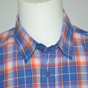 BUGATCHI-UOMO-Shaped-Fit-Cotton-Casual-Shirt-Sz-M-Blue-Plaid