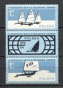 35934) Poland 1978 MNH Icesailing 2v + Tab
