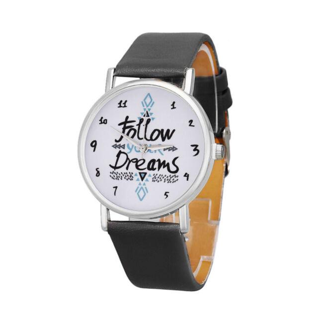 Damen Mode Follow Träume Wörtern Muster Leder Analog Quarz Armbanduhr Geschenk