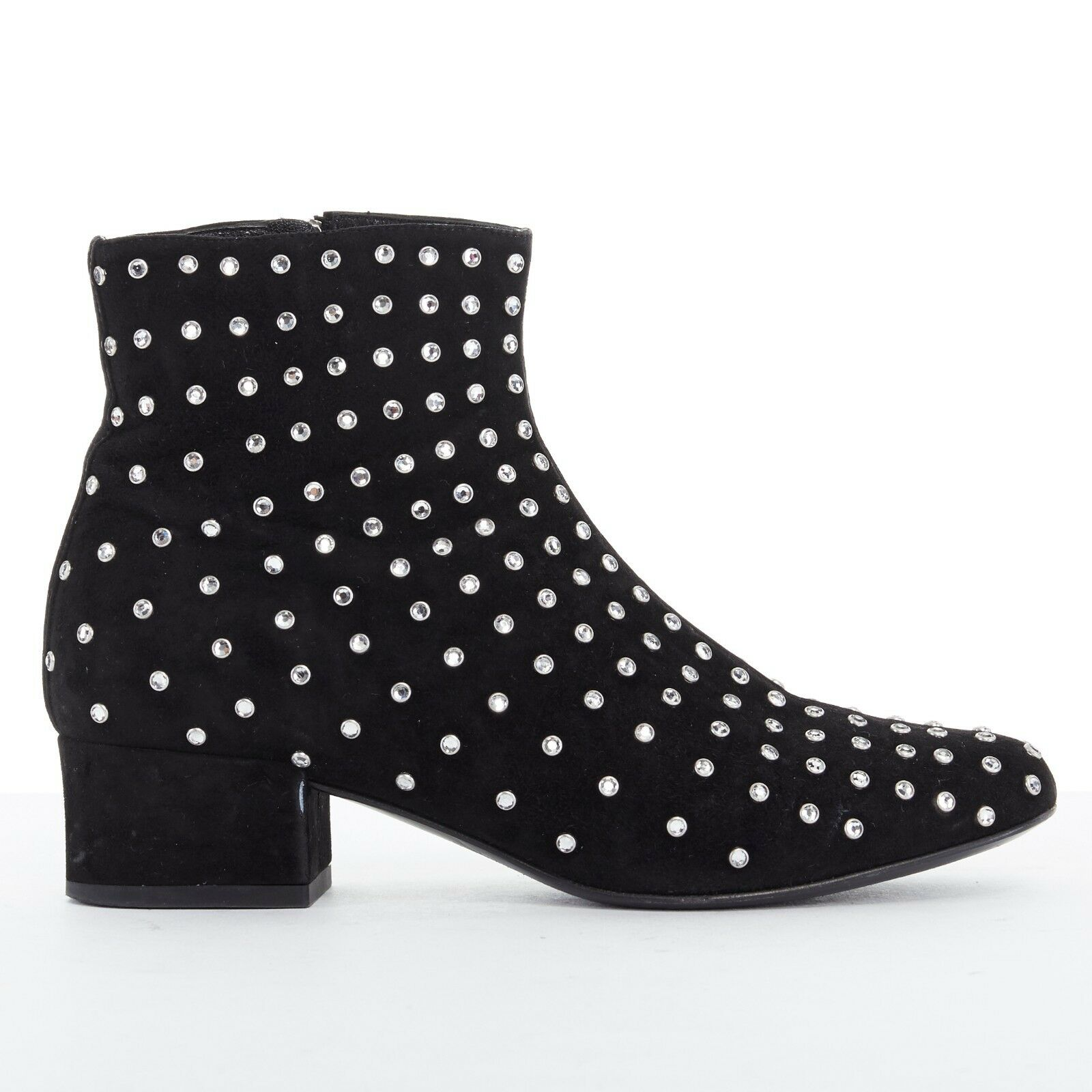 SAINT LAURENT PARIS black suede strass crystal embellished ankle boot shoe EU35