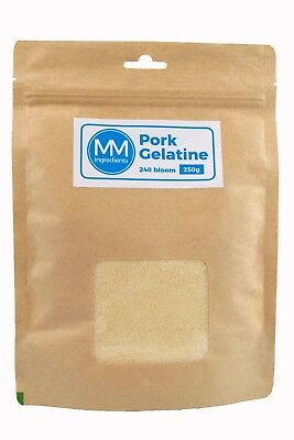 Pork Gelatine Powder 250G ( Professional strength 240 Bloom ) Resealable pouch