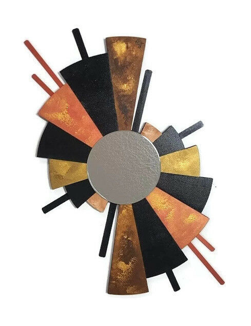 Contemporary Abstract Fan Mirror Wall Art, Wood and Metal Wall Sculpture 50x28