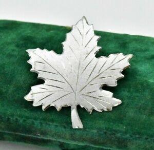 Vintage Sterling silver brooch pin Maple leaf Art Nouveau statement #W551