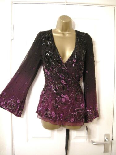10 FRANK USHER TOP WRAP PLUNGE LONG SLEEVE HEAVILY EMBELLISHED SILK PURPLE NEW